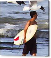 Surfer And The Birds Canvas Print