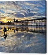 Surfer At Low Tide Canvas Print
