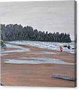 Surfer On A Rainy Day In Bc Canvas Print
