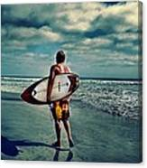 Surfer Walking The Beach Canvas Print