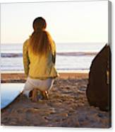 Surfer Woman And Dog On Beach Canvas Print