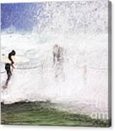 Surfers at rockpool Canvas Print