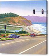 Surfers On Pch At Torrey Pines Canvas Print