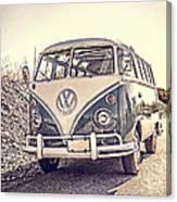 Surfer's Vintage Vw Samba Bus At The Beach Canvas Print