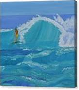 Surfing Big Waves On The North Shore Of Oahu Canvas Print