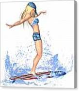 Surfing Girl Canvas Print