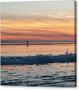 Surfing Into The Sunset Canvas Print