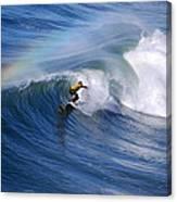 Surfing Under A Rainbow Canvas Print