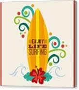 Surfing Zone Graphic Design , Vector Canvas Print