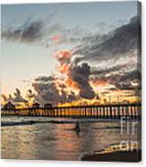 Surfs Up On A Sunset Canvas Print