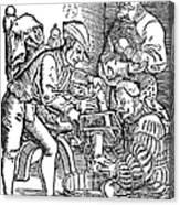 Surgeon Performing An Amputation. Woodcut From An Edition Of Hans Von Gersdoffs Feldtbuch Der Wundartzney, Strassburg, 1540 Canvas Print