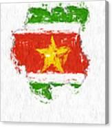 Suriname Painted Flag Map Canvas Print