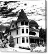 Surreal Black White Mackinac Island Michigan Infrared Victorian Home Canvas Print