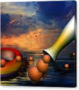Surreal Dinner Served Over The Ocean Canvas Print
