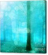 Surreal Dreamy Fantasy Bokeh Aqua Teal Turquoise Woodlands Trees  Canvas Print