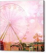 Surreal Dreamy Pink Myrtle Beach Ferris Wheel Canvas Print