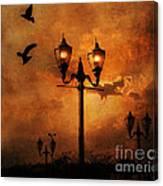 Surreal Fantasy Gothic Night Lanterns Ravens  Canvas Print