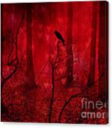 Surreal Fantasy Gothic Red Woodlands Raven Trees Canvas Print