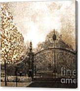 Surreal Fantasy Haunting Gate With Sparkling Tree Canvas Print
