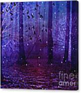 Surreal Fantasy Starry Night Purple Woodlands - Purple Blue Fantasy Nature Fairy Lights  Canvas Print