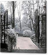 Surreal Haunting Infrared Nature Gate Scene Canvas Print
