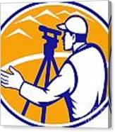 Surveyor Engineer Theodolite Total Station Canvas Print