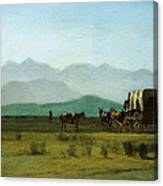 Surveyors Wagon In The Rockies Canvas Print