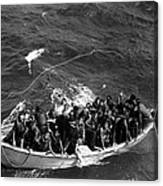Survivors Of Uss Princeton In Life Boat Canvas Print