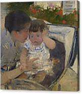 Susan Comforting The Baby Canvas Print