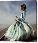 Editha Dussler Posing On A Beach Canvas Print