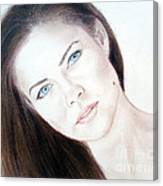 Actress And Model Susan Ward Blue Eyed Beauty With A Mole Canvas Print