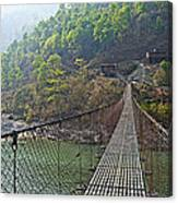 Suspension Bridge Over The Seti River In Nepal Canvas Print