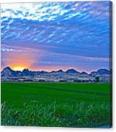 Sutter Buttes Sunset Ray Burst In The Rice Fields  Canvas Print
