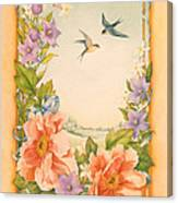 Swallows And Peonies Canvas Print