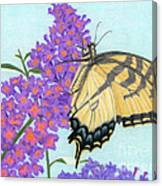 Swallowtail Butterfly And Butterfly Bush Canvas Print