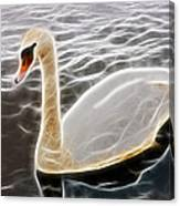 Swan In The Water Fractal Canvas Print