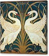 Swan Rush And Iris Canvas Print