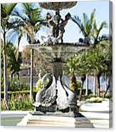 Swan Fountain In Lakeland Canvas Print