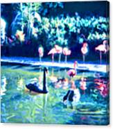 Swans And Flamingos Canvas Print