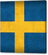 Sweden Flag Vintage Distressed Finish Canvas Print