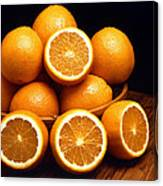 Sweet Oranges Whole And Halved Canvas Print