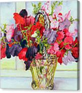 Sweet Peas In A Vase Canvas Print