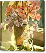 Sweetpea On The Windowsill Canvas Print