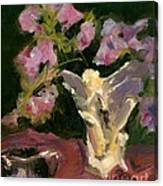Sweetpeas And Silver Canvas Print