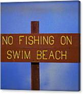 Swim Beach Sign II Canvas Print