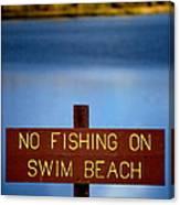 Swim Beach Sign Canvas Print