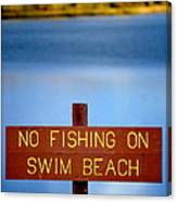 Swim Beach Sign L Canvas Print