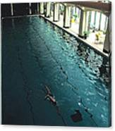 Swimmer In Pool At Banff Lodge Canvas Print
