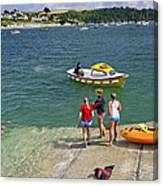 Swimmers On The Slipway - St Mawes Canvas Print