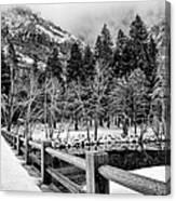 Swinging Bridge In Winter Canvas Print